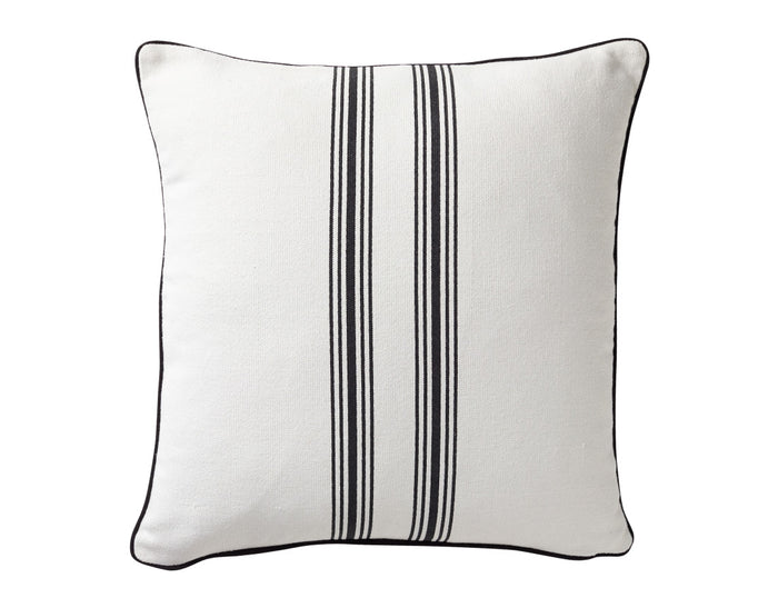 Stripped Cotton Black Cushion - Square