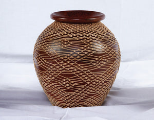 Mesh Overlay Pot - Terracotta