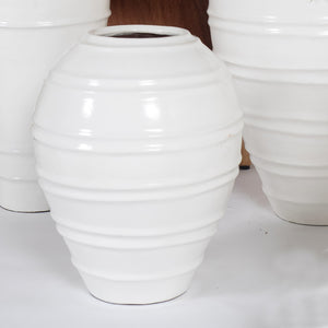 White Mykonos Ribbed Pot Lrg