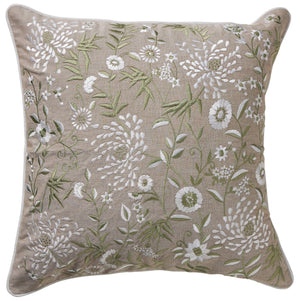 Olive Floral Embroidery Cushion