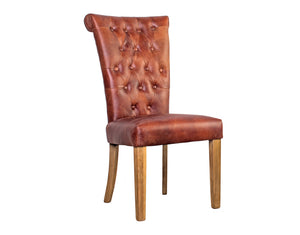 Sorrento Vintage Leather Dining Chair - Oak Leg