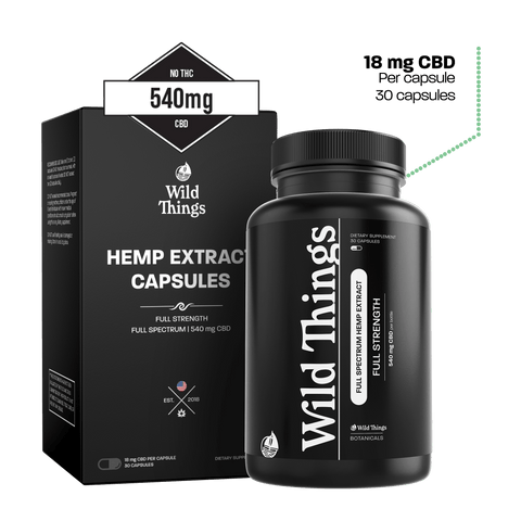CBD Capsules: Full Strength (18mg CBD) CBD Capsules Wild Things Botanicals 30 capsules - $69.99