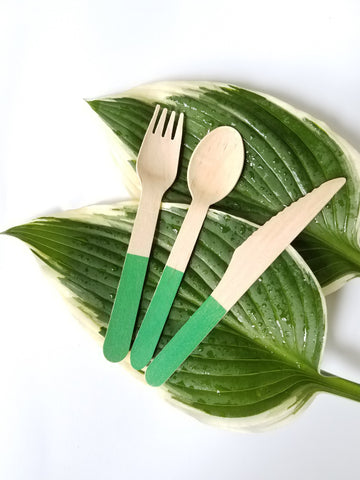 Green dipped utensils