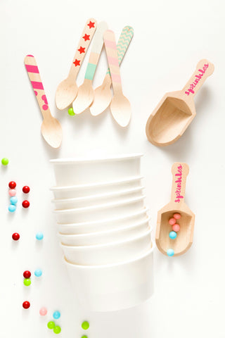 Ice Cream Cups, Spoons & 2 Sprinkles Scoops
