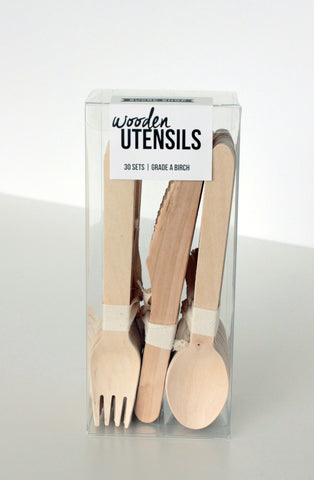 wooden utensils - set of 30
