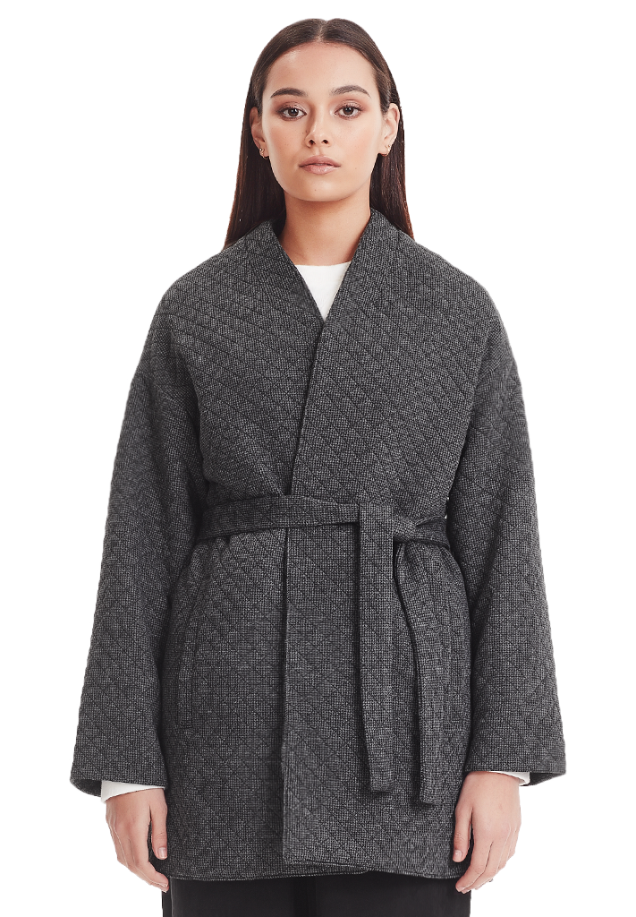 WRAP COAT, HOUNDSTOOTH
