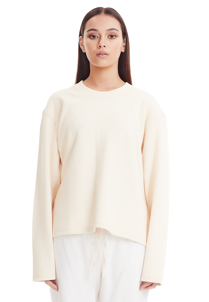 SLOUCH FIT LS, VANILLA