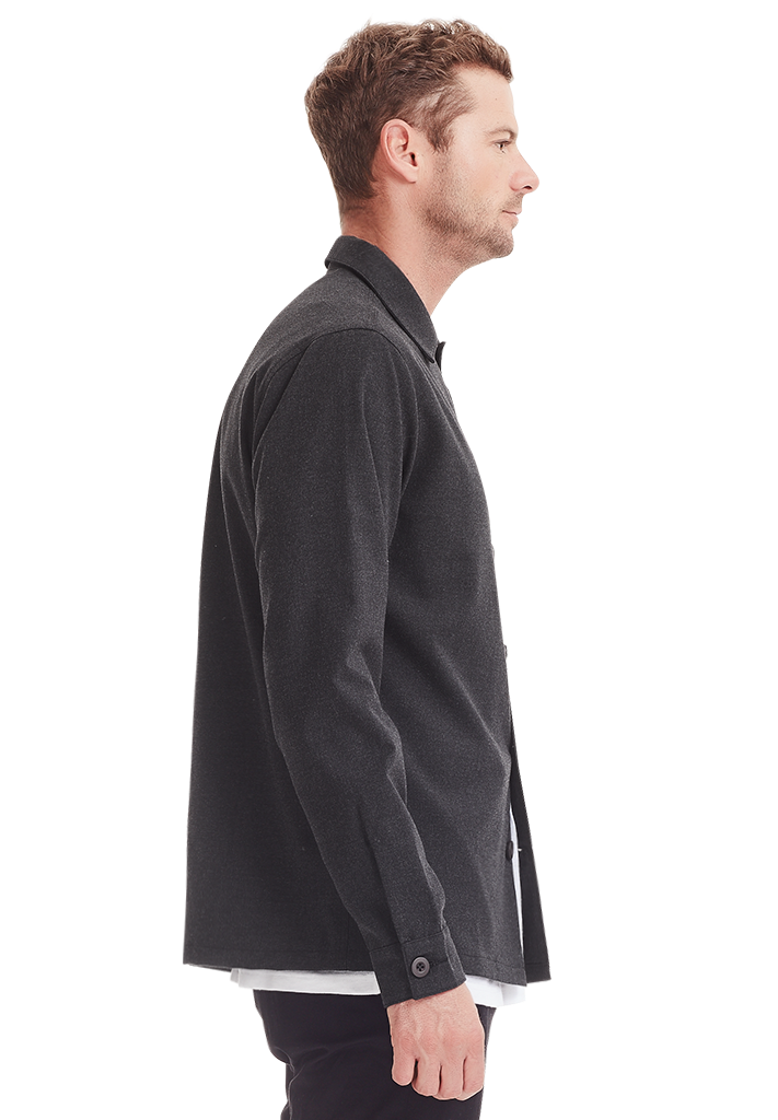 WOOL OVERSHIRT, DARK GREY