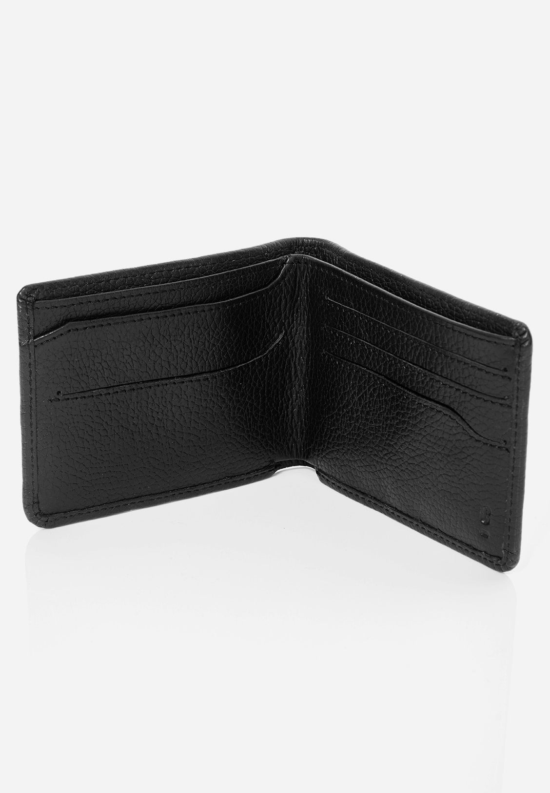 LEATHER DOUBLE BIFOLD WALLET, Black