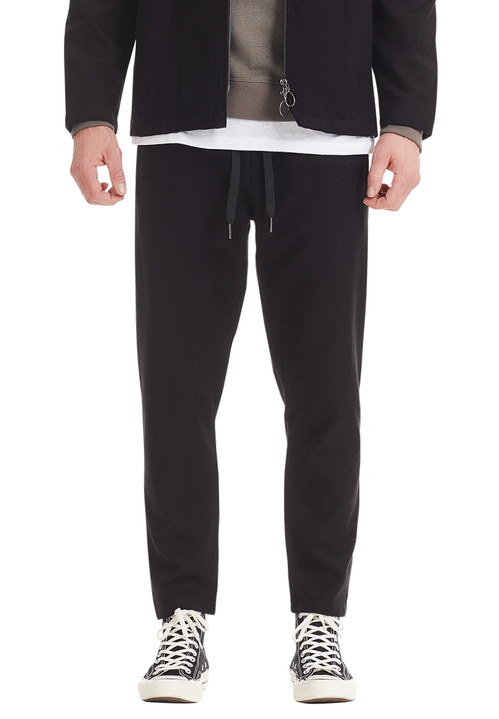 WOOL LEISURE PANT, BLACK