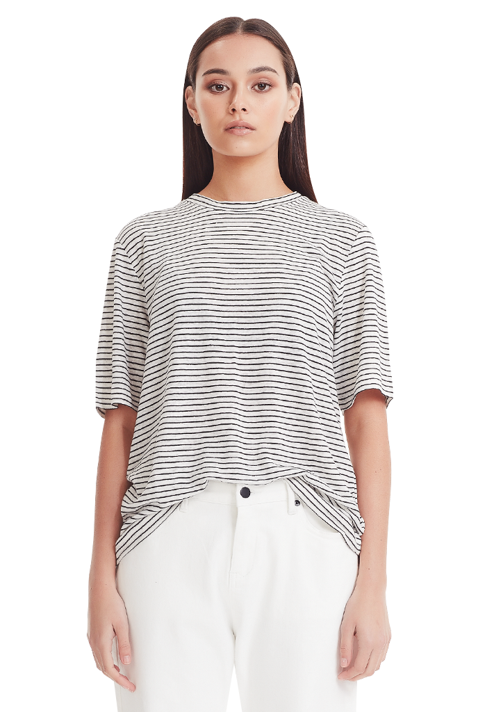 LUXE LINEN TEE, BLACK/WHITE STRIPE