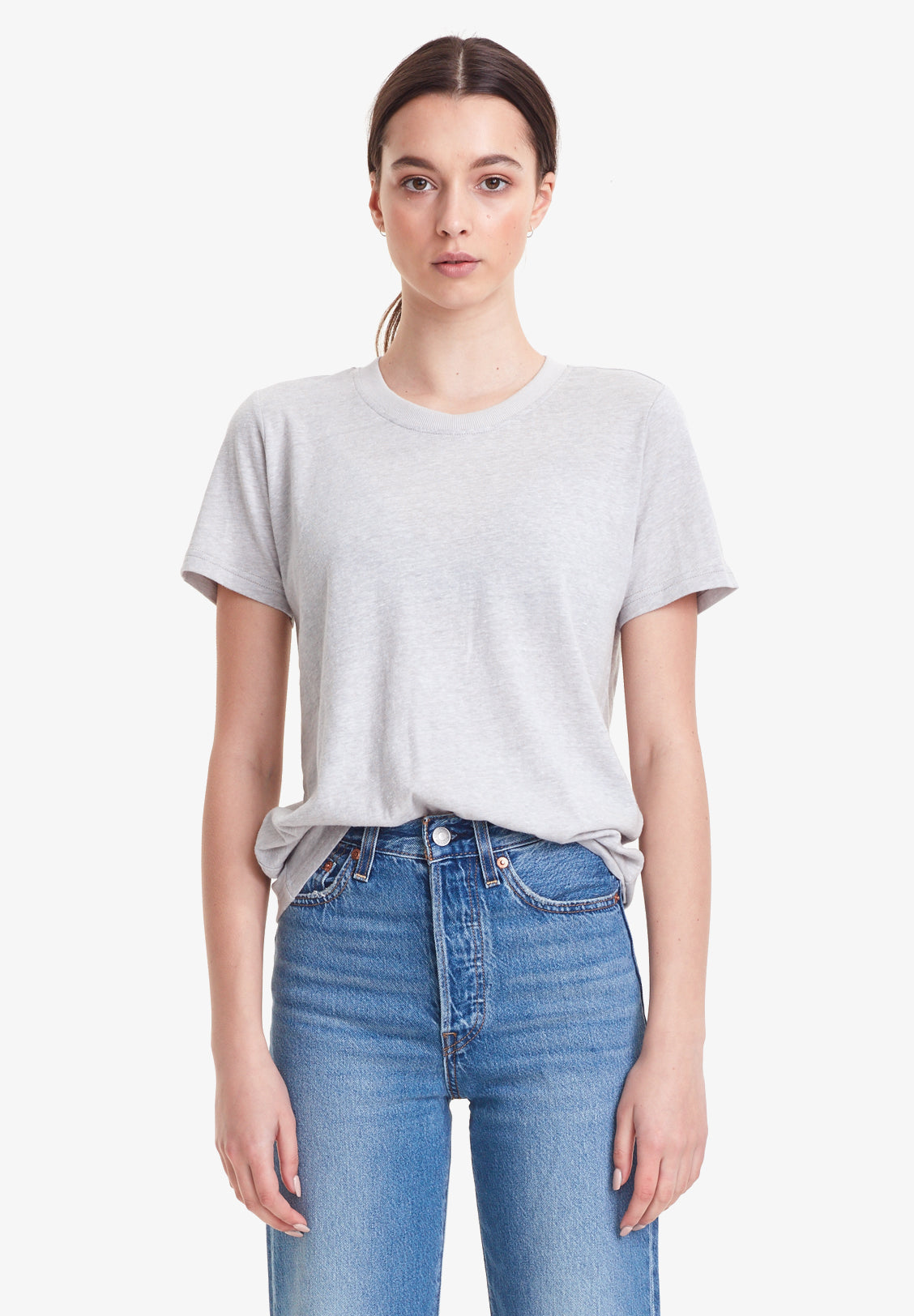 WOMEN'S CREW NECK TEE - RECYCLED COTTON, LIGHT GREY