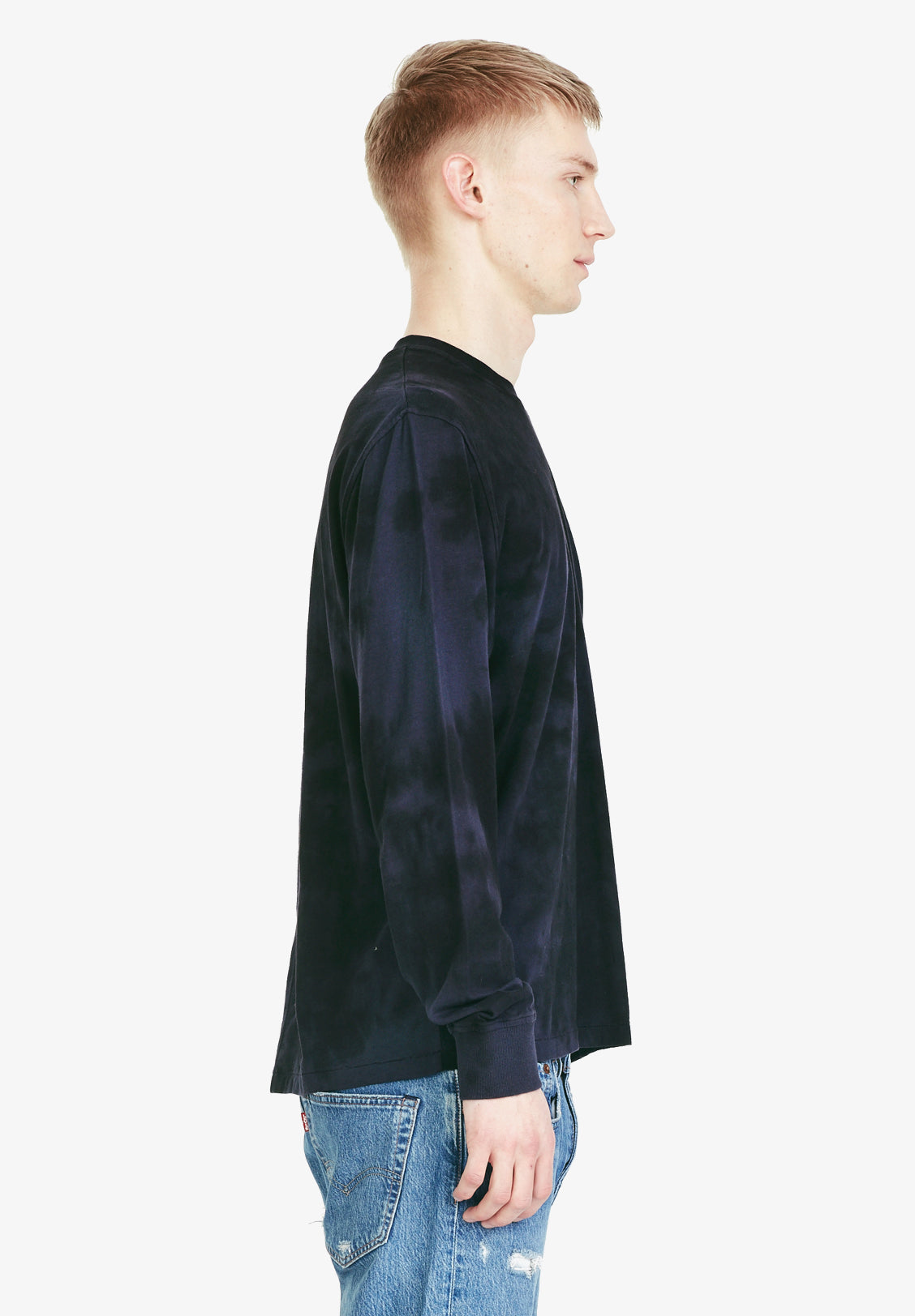 RELAXED LS TEE, NAVY OVERDYE
