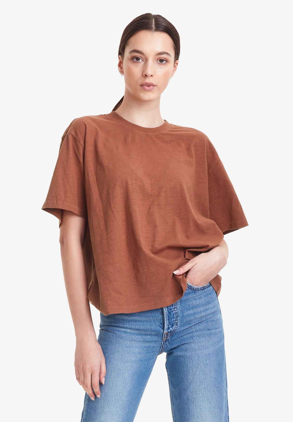 WOMEN'S OVERSIZED TEE, CINNAMON