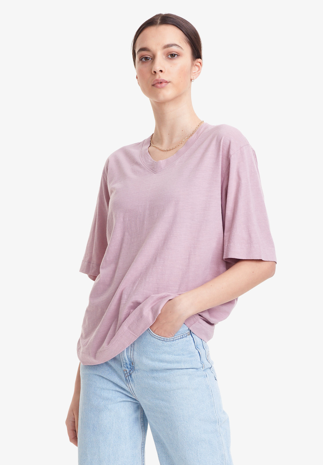 WOMEN'S SOFT V-NECK TEE, VINTAGE HAZE