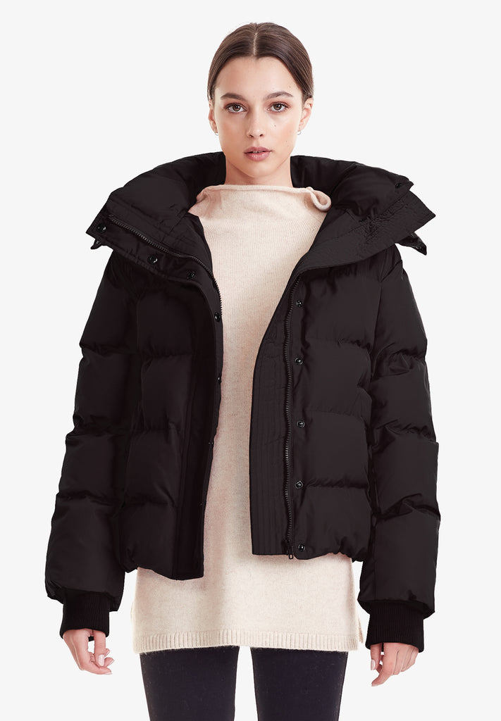 HOODED PUFFER JACKET, BLACK