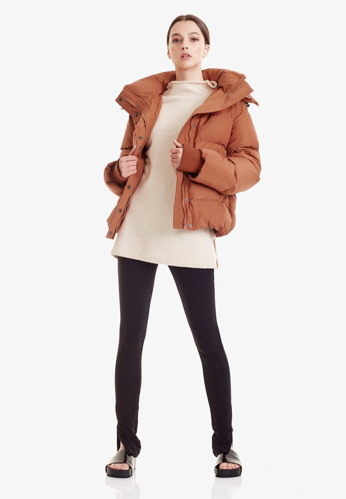 HOODED PUFFER JACKET, CINNAMON