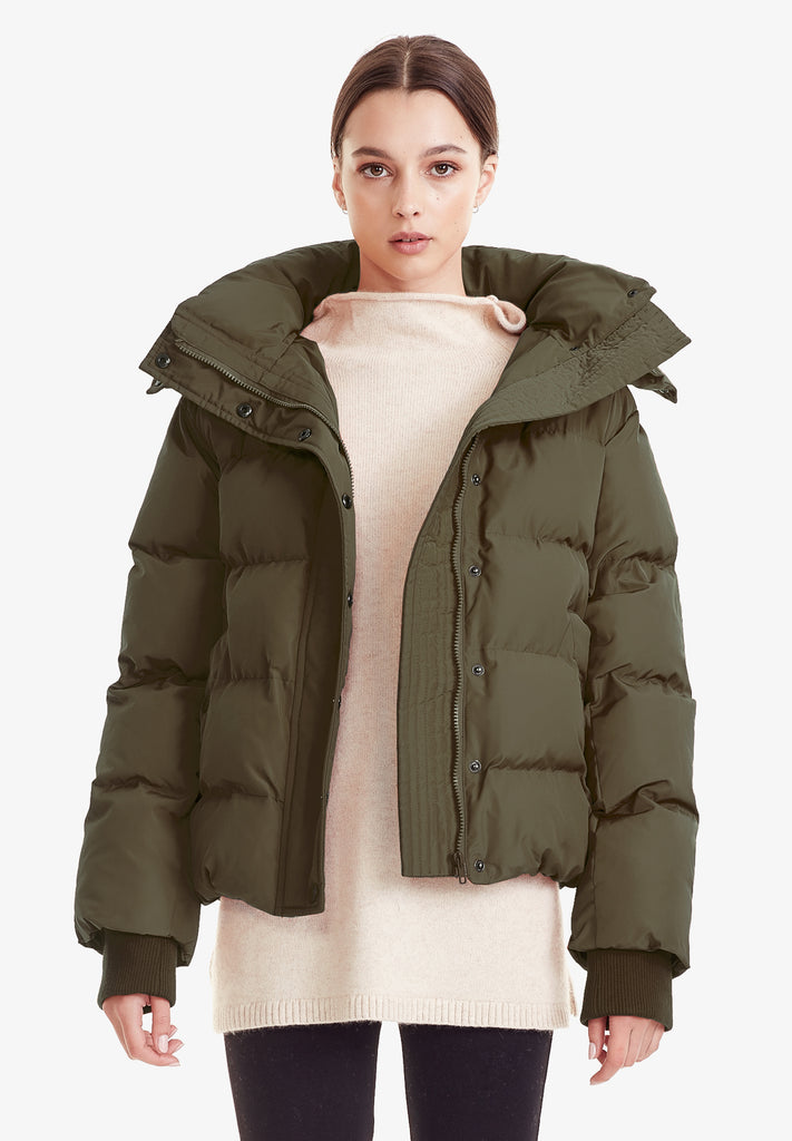 HOODED PUFFER JACKET, KHAKI