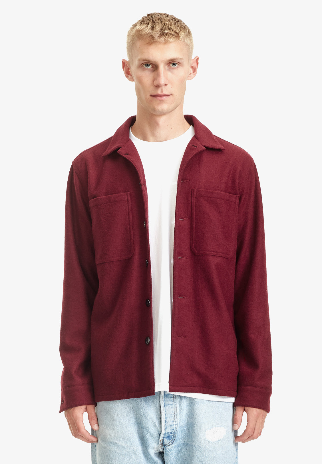 MENS WOOL BLEND OVERSHIRT, MERLOT