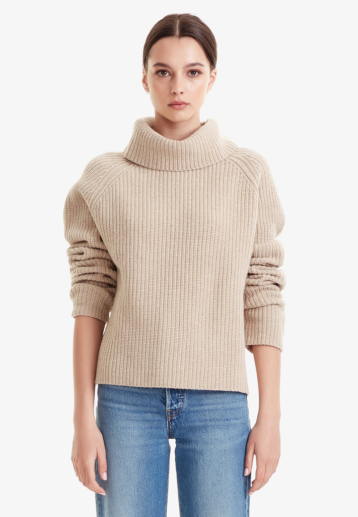 MERINO ROLL KNIT JUMPER, LINEN