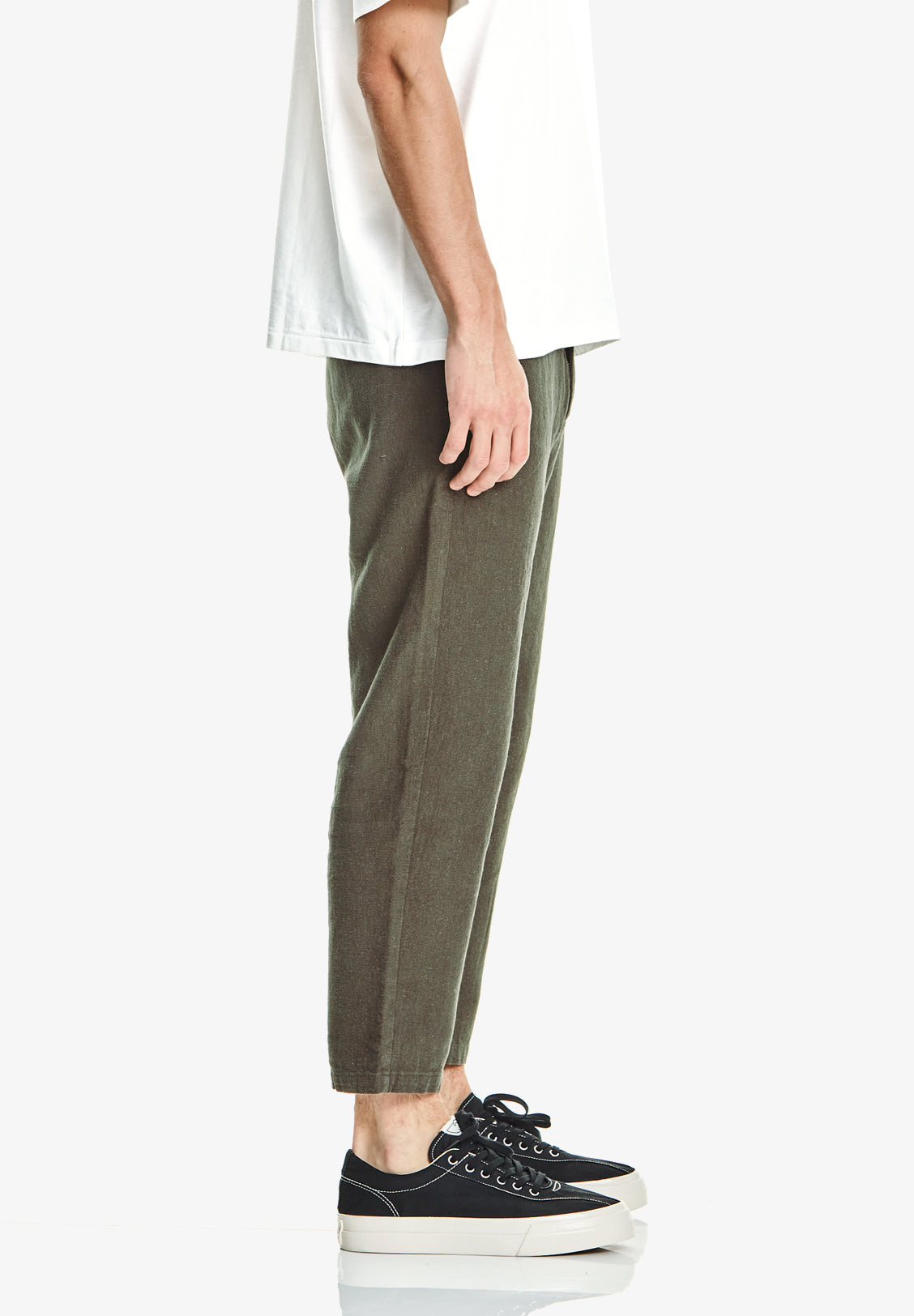 MEN'S CROP LINEN/COTTON PANT, KHAKI