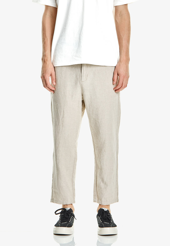 MEN'S CROP LINEN/COTTON PANT, NATURAL