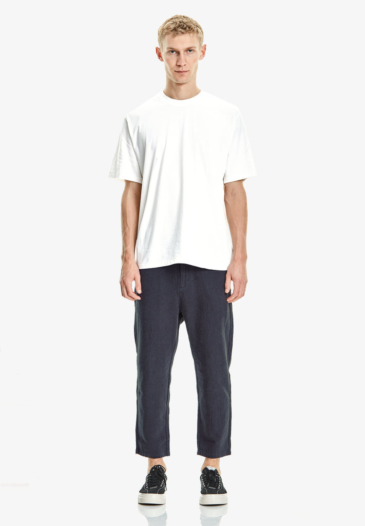 MEN'S CROP LINEN/COTTON PANT, NAVY