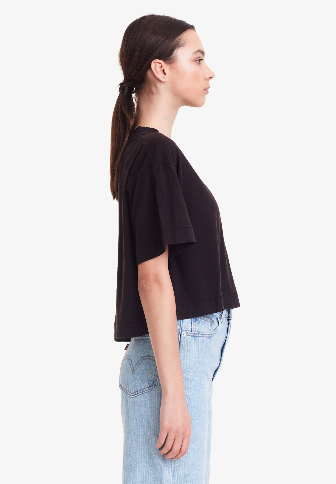 WOMEN'S CROPPED BOY TEE - ORGANIC COTTON / HEMP, BLACK