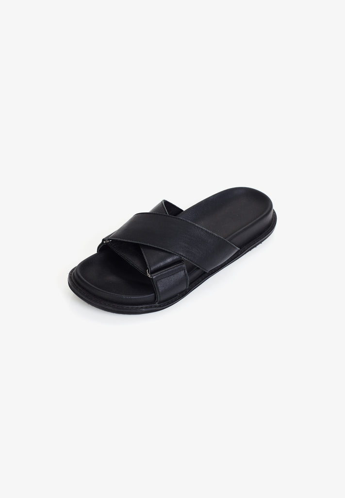 WOMEN'S CROSSOVER SLIDE, BLACK