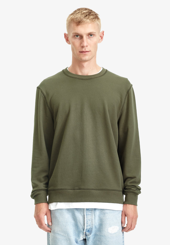MENS FLEECE CREW, VINTAGE KHAKI