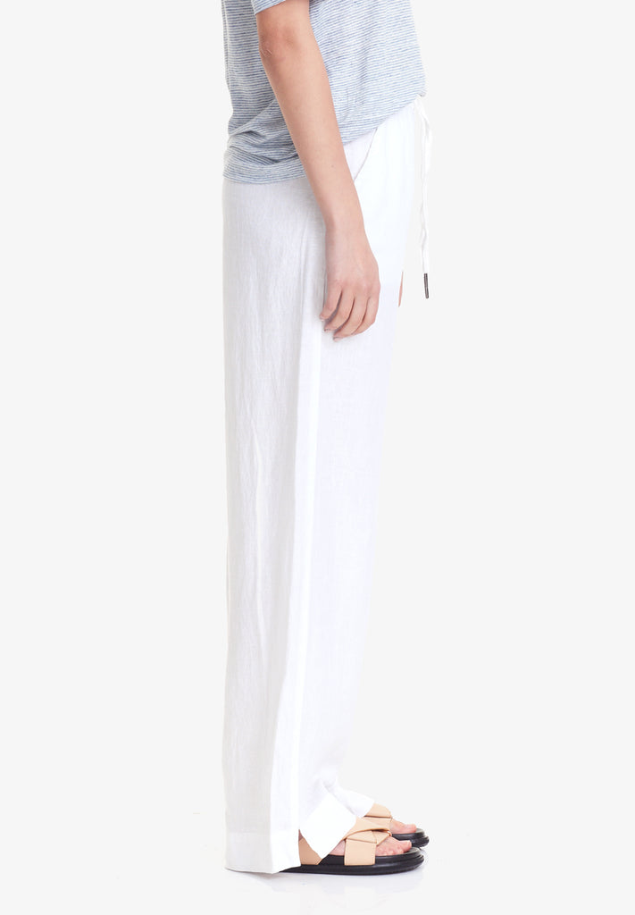 WOMEN'S WIDE LEG LINEN PANT, WHITE