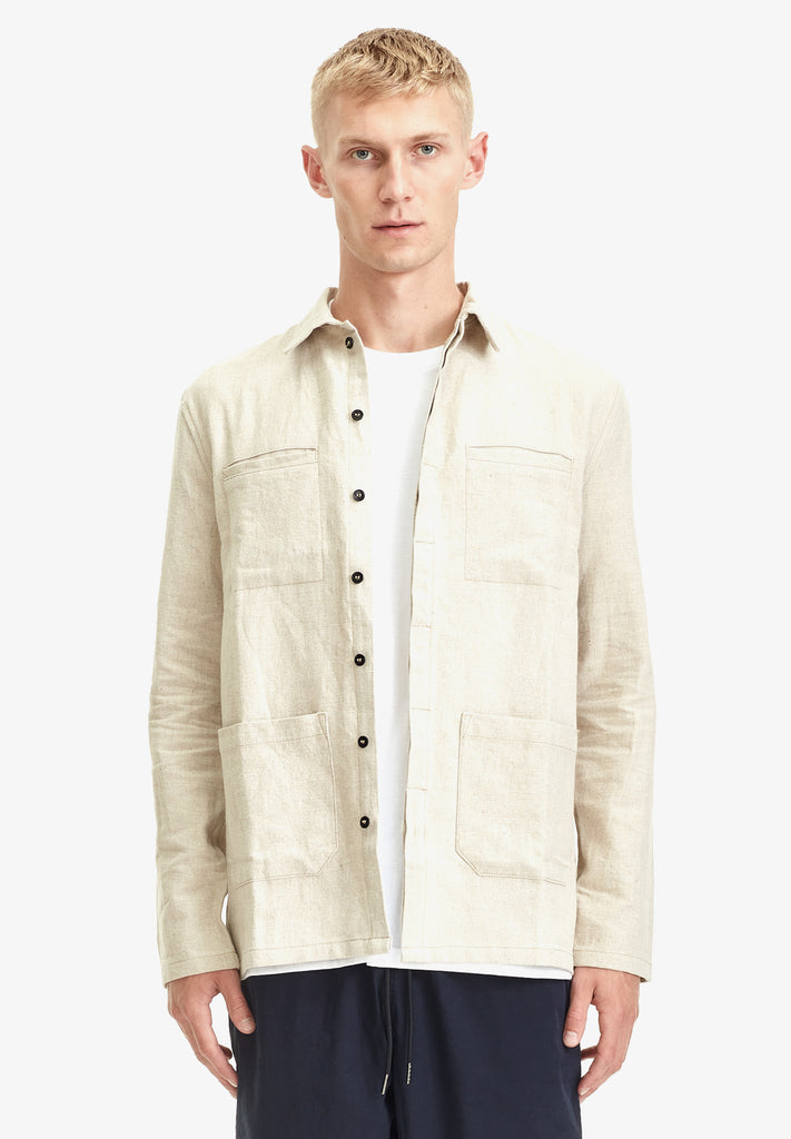 MENS LINEN WORK SHIRT, NATURAL