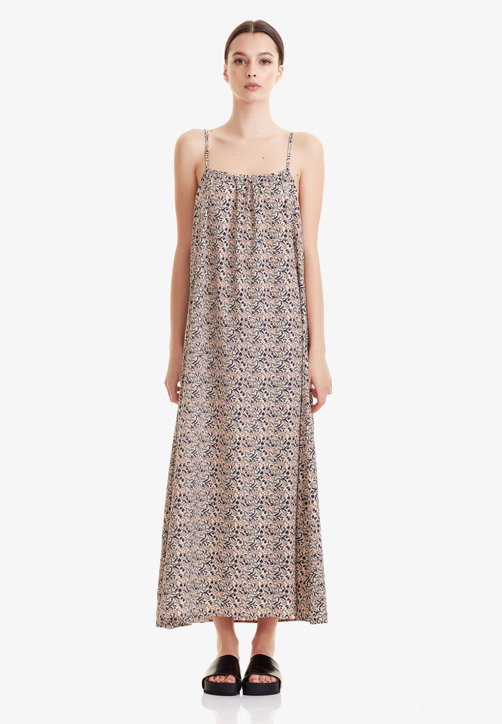 WOMEN'S GATHERED MAXI DRESS, SAND FLORAL