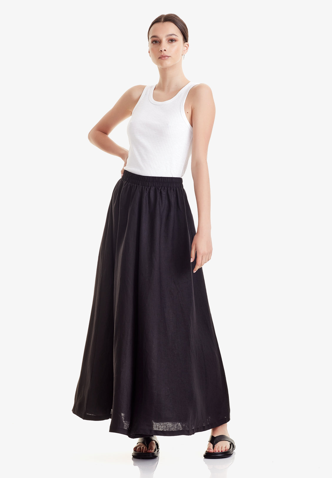 WOMEN'S MAXI SKIRT, BLACK