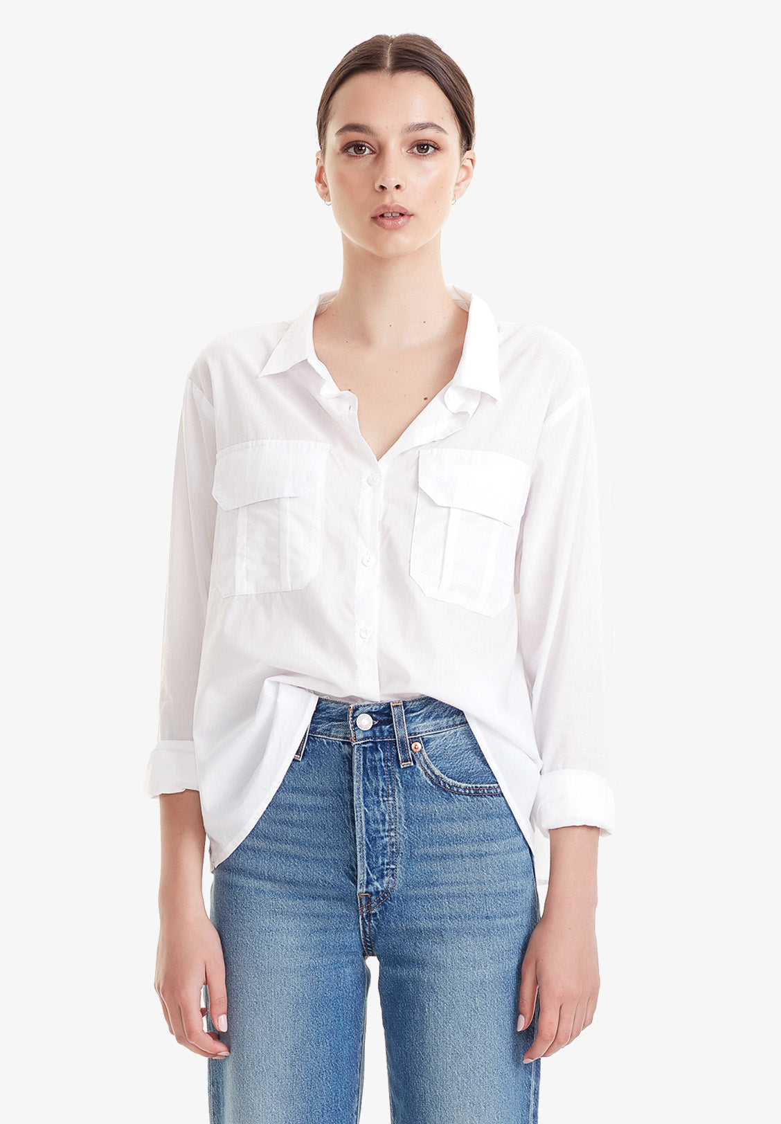 WOMEN'S CROP UTILITY SHIRT, WHITE