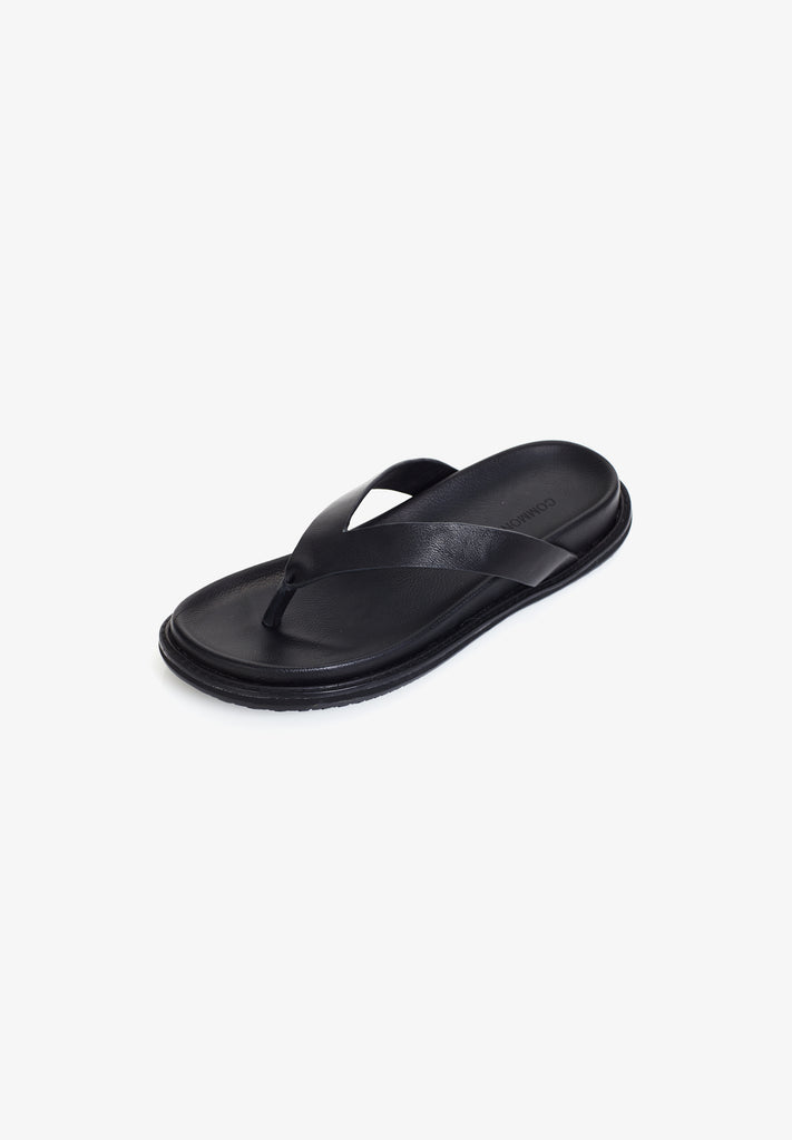 WOMEN'S LEATHER FLIP FLOP, BLACK