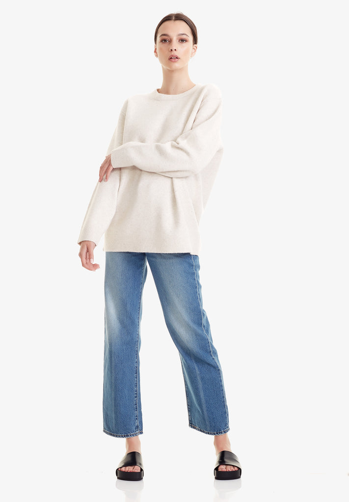 WOMENS OVERSIZED SWEATER, OATMARLE
