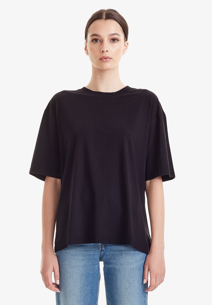 WOMENS RELAXED TEE - 100% ORGANIC COTTON, BLACK
