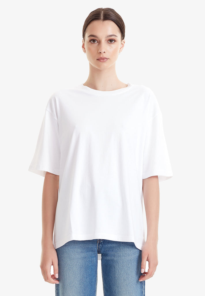 WOMENS RELAXED TEE - 100% ORGANIC COTTON, WHITE