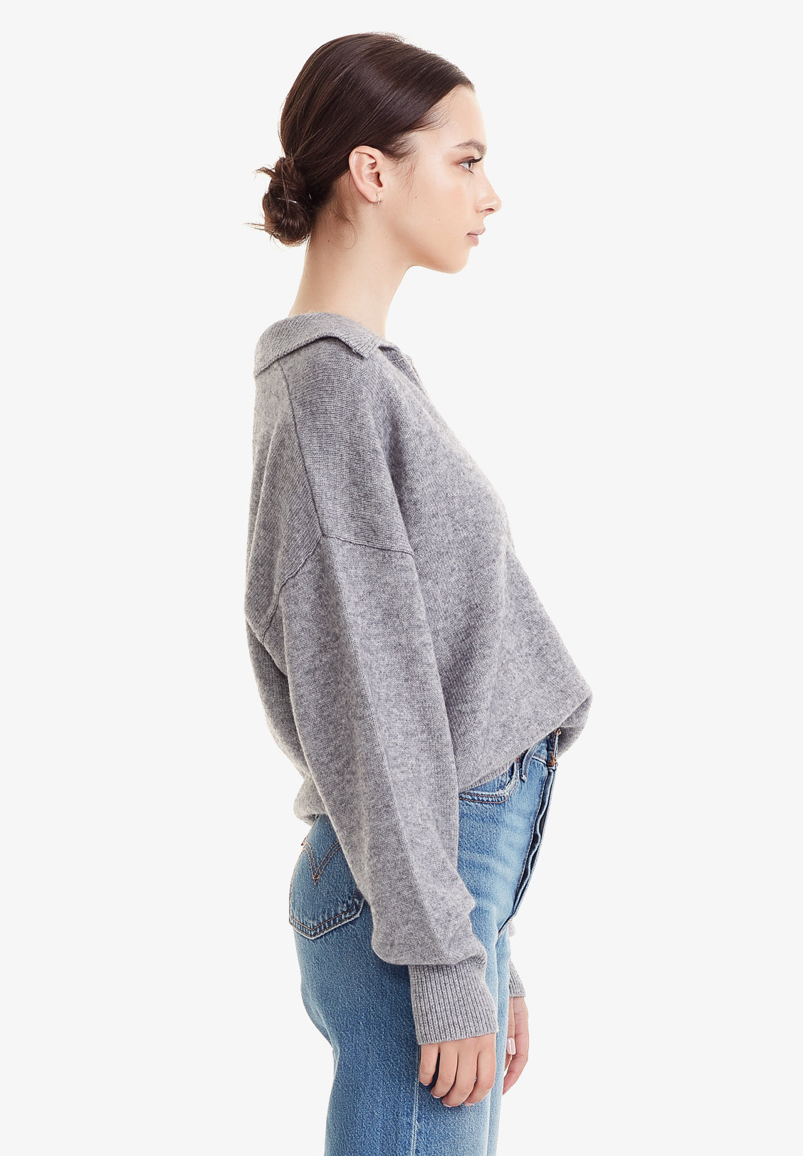 WOOL / CASHMERE POLO KNIT, MARLE