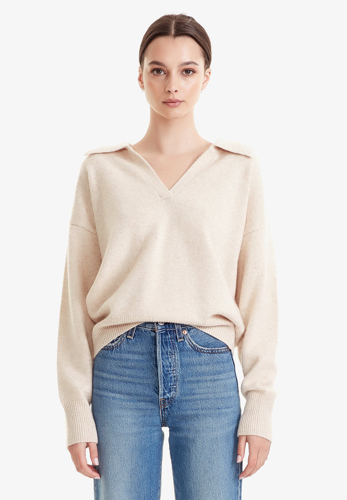 WOOL / CASHMERE POLO KNIT, SAND