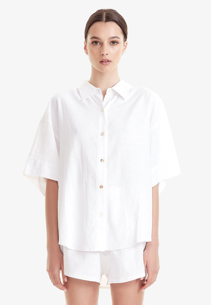 WOMEN'S BOYFRIEND SHIRT, WHITE