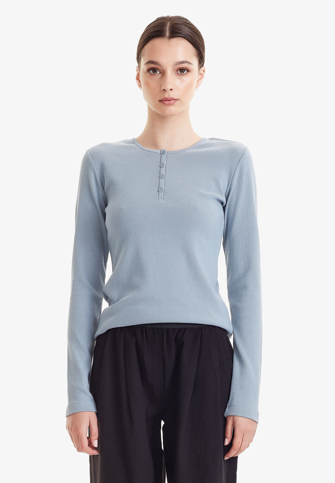 WOMENS RIBBED HENLEY LS, DUSKY BLUE