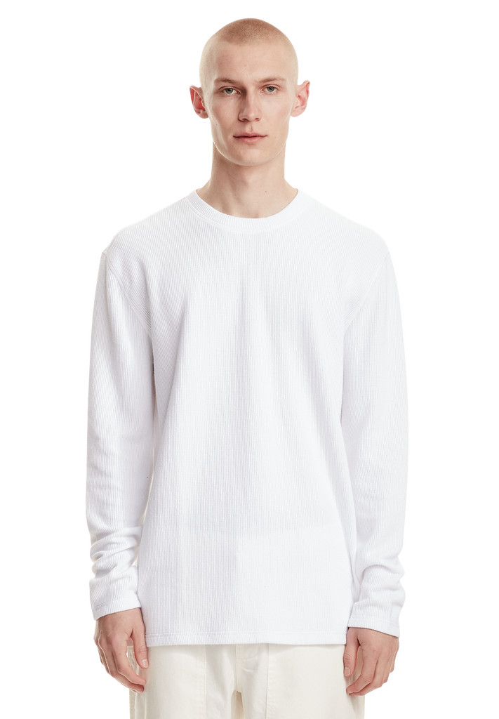 MENS WAFFLE LS, WHITE