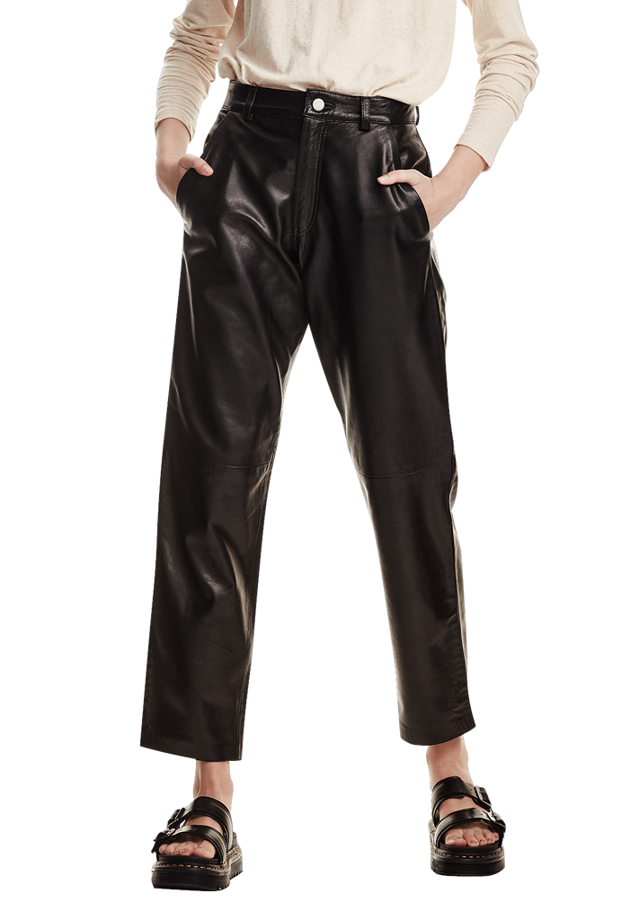 WOMENS LEATHER PANT, BLACK