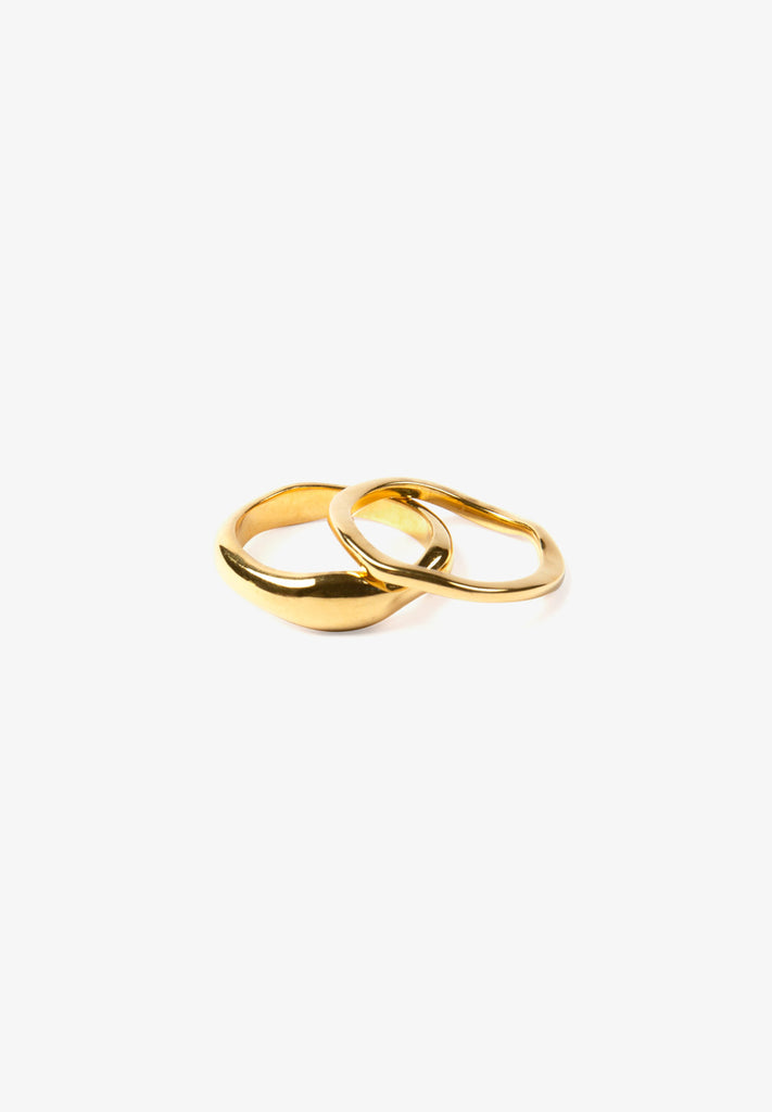 FLASH - WAVE RING SET, 14K GOLD VERMEIL