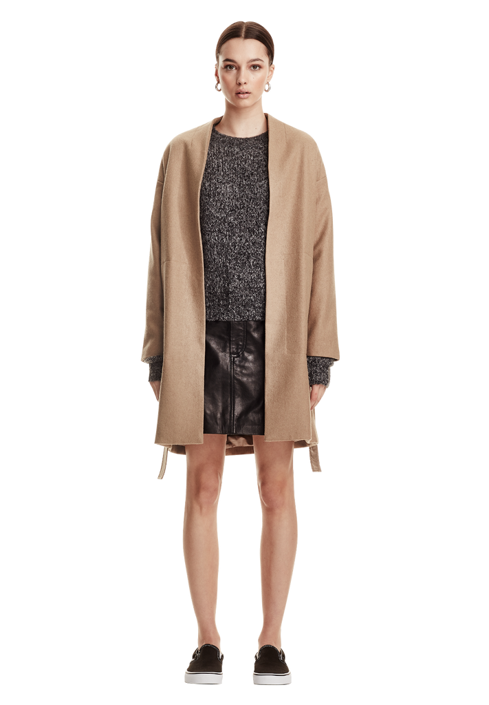 WOOL WRAP COAT, COFFEE