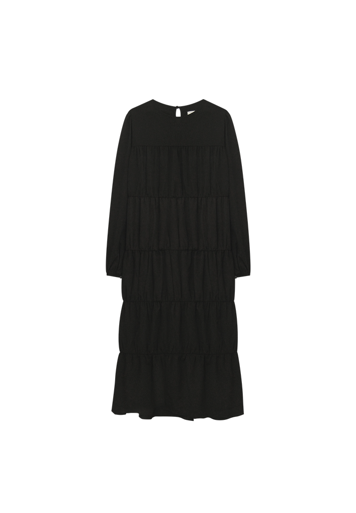 TIERED DRESS, BLACK