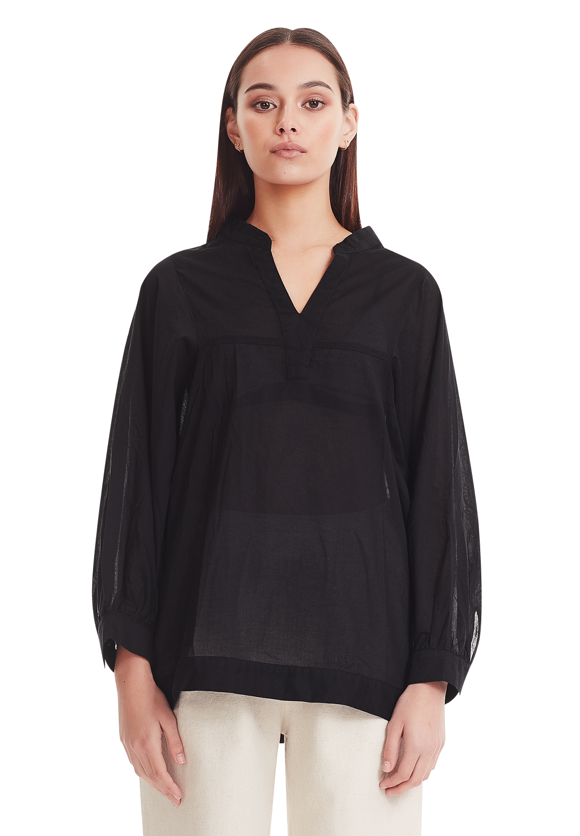WOMENS OVERSIZED BLOUSE, BLACK
