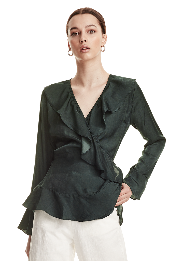 WOMENS FRILL SLEEVE WRAP TOP, EMERALD